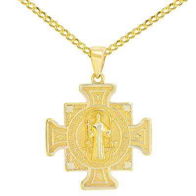 Solid 14K Yellow Gold Saint Benedict Cross Charm Pendant Cuban Concave Necklace