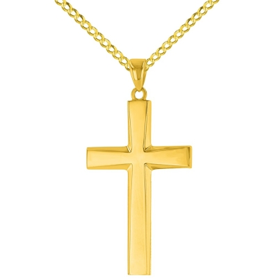 14K Yellow Gold Plain and Simple Religious Cross Pendant Necklace