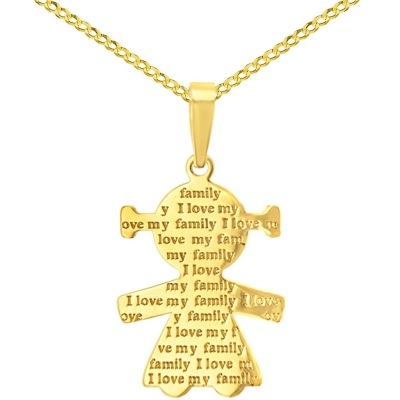 14K Yellow Gold Little Girl Charm with I Love My Family Engraved Script Pendant Cuban Chain Necklace