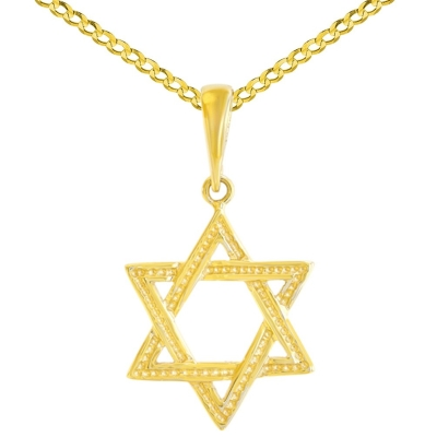 Solid 14K Yellow Gold Textured Jewish Star of David Charm Pendant Cuban Concave Necklace