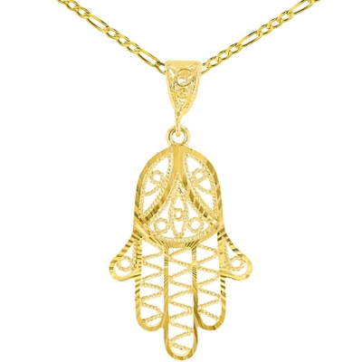 Solid 14K Yellow Gold Filigree Hamsa Charm Textured Hand of God Pendant Figaro Chain Necklace