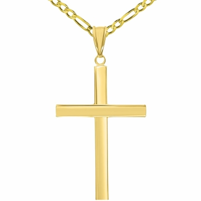 14k Yellow Gold Polished Simple Religious Cross Pendant with Figaro Chain Necklace, 24""