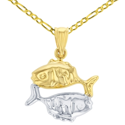 High Polish 14K Yellow Gold Pisces Zodiac Sign Charm Pendant Figaro Chain Necklace