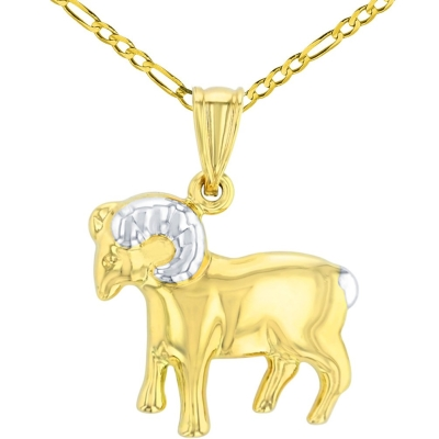 High Polish 14K Yellow Gold Aries Zodiac Sign Pendant Ram Charm Figaro Chain Necklace