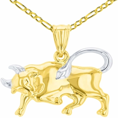 High Polish 14K Yellow Gold Bull Pendant Taurus Zodiac Sign Charm Figaro Chain Necklace