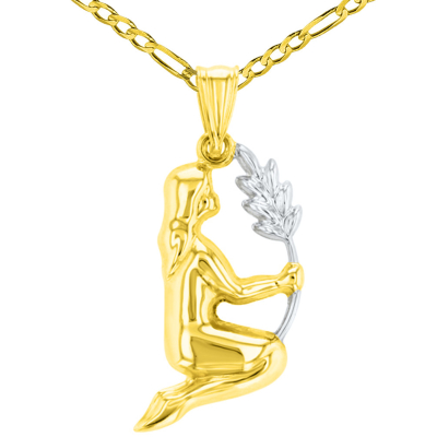 High Polish 14K Yellow Gold Virgo Maiden Holding Wheat Zodiac Sign Charm Pendant Figaro Chain Necklace