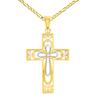 14K Yellow Gold Textured Milgrain Filigree Cross Pendant FIgaro Necklace