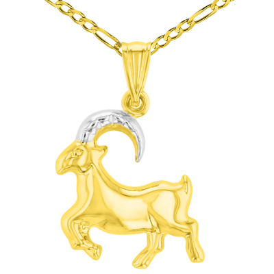 High Polish 14K Yellow Gold Capricorn Zodiac Sign Charm Pendant Figaro Chain Necklace