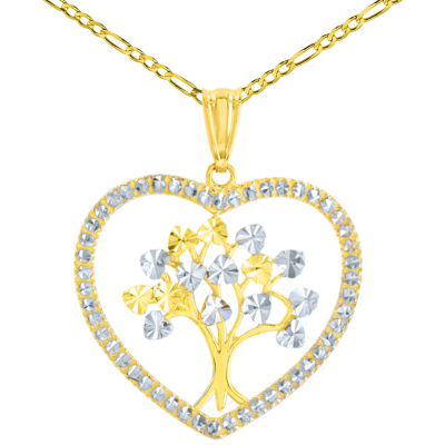 Polished 14K Yellow Gold Textured Heart Shaped Tree of Life Pendant Figaro Chain Necklace