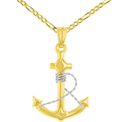 14K Two-Tone Gold Polished Navy Anchor with Rope Charm Nautical Pendant Figaro Chain Necklace