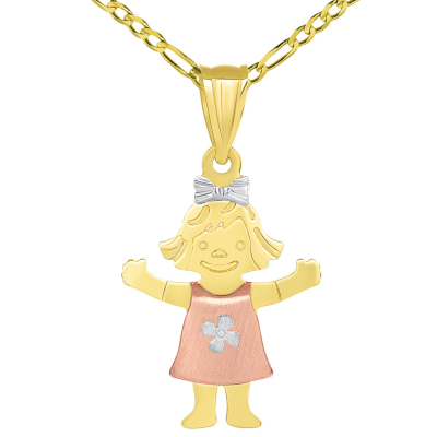 Solid 14k Tri Color Gold Smiling Little Girl Figure Charm Pendant Figaro Necklace