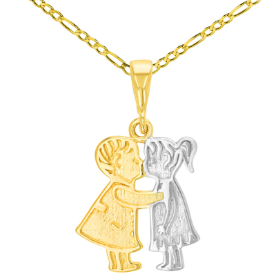 14K Yellow Gold Boy and Girl Kissing Charm Pendant with Figaro Chain Necklace