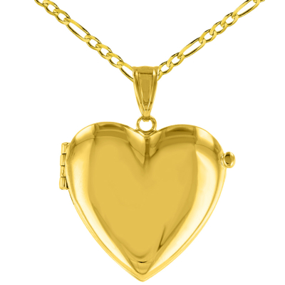 Solid 14K Yellow Gold Heart Shaped Locket Charm Pendant with Figaro Chain Necklace