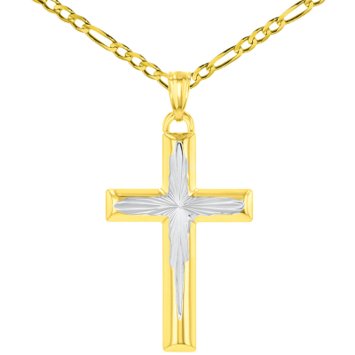 High Polished 14K Yellow Gold Textured Cross Pendant Figaro Chain Necklace