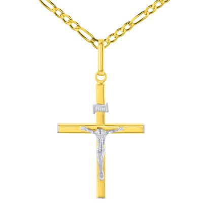 14K Two-Tone Gold Slender INRI Cross Jesus Crucifix Charm Pendant Necklace