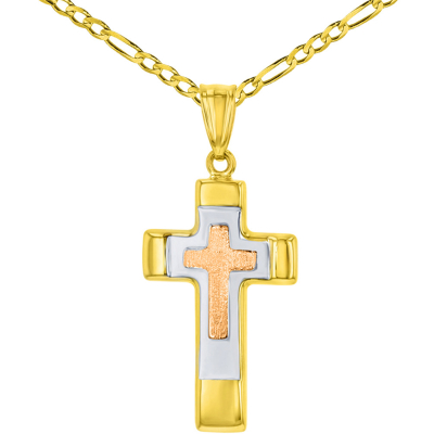 14K Rose & Yellow Gold Tricolor Religious Cross Charm Pendant with Figaro Chain Necklace