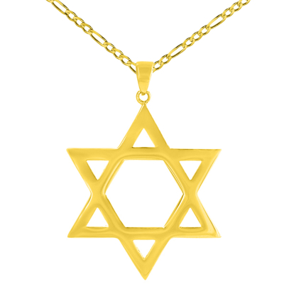 Solid 14K Yellow Gold Large Star of David Charm Jewish Symbol Pendant Necklace