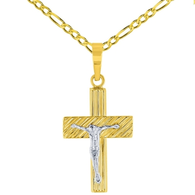 14K Two-Tone Gold Rugged Edged Cross Crucifix Pendant with Figaro Chain Necklace