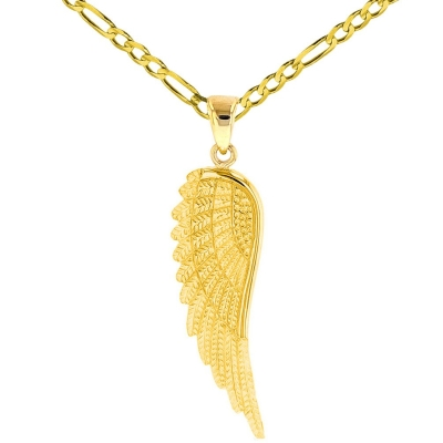 Solid 14k Yellow Gold Textured Angel Wing Charm Pendant Necklace