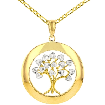 Jewelry America High Polished 14K Yellow Gold Round Tree of Life Pendant Figaro Necklace