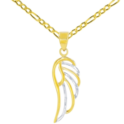 Solid 14k Yellow Gold Textured Angel Wing Charm Pendant Figaro Chain Necklace