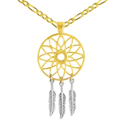 14K Two-Tone Gold Native American Dreamcatcher Charm Pendant with Figaro Necklace