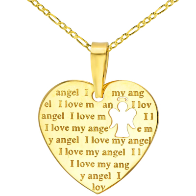 14K Yellow Gold Heart Charm with I Love My Angel Script Pendant Figaro Chain Necklace