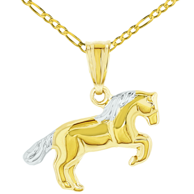 Polished 14k Yellow Gold Running Horse Charm Animal Pendant Necklace