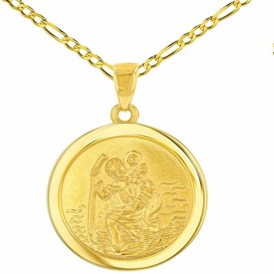 14k Yellow Gold Round Saint Christopher Medal Pendant Figaro Chain Necklace