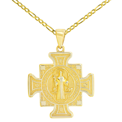 Solid 14K Yellow Gold Saint Benedict Cross Charm Pendant Figaro Chain Necklace