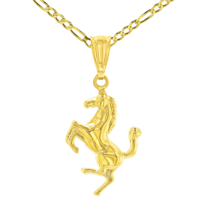 High Polished 14K Yellow Gold Stallion Horse Charm Animal Pendant Necklace