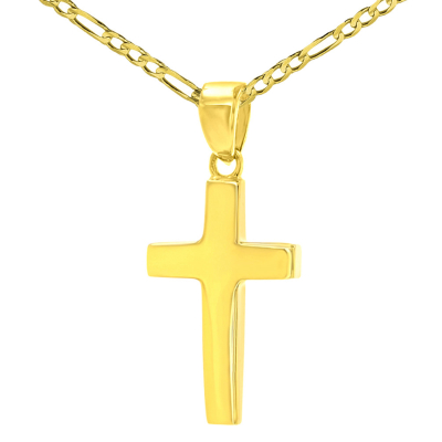 14K Yellow Gold Polished Dainty Plain Cross Charm Pendant Figaro Chain Necklace