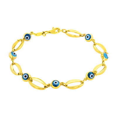 14K Yellow Gold Blue Evil Eye Open Chain Link Bracelet