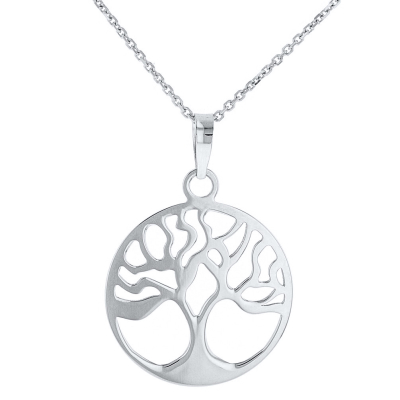 Solid 14k White Gold Tree of Life Disk Chain Pendant Necklace