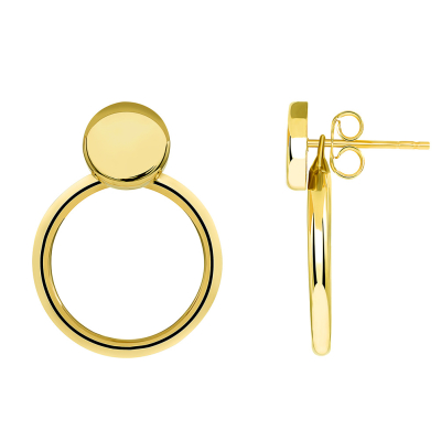 14k Yellow Gold Simple Circle Hoop Dangle Drop Earrings with Friction Back