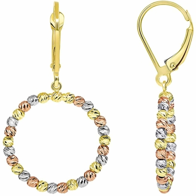 Textured 14k Tri Color Gold Fancy Beaded Hoop Dangle Drop Earrings with Leverback, (19mm x 35.5mm)