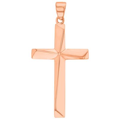 Solid 14K Rose Gold Elegant Religious Plain Cross Pendant