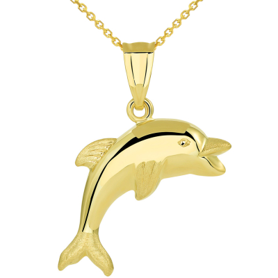 14k Yellow Gold Polished Smiling and Jumping 3D Dolphin Pendant