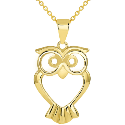 Solid 14K Yellow Gold Open Big Eyes Owl Animal Pendant Necklace
