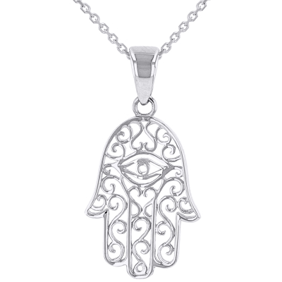 Solid 14K White Gold Filigree Hamsa Hand of Fatima with Evil Eye Pendant Necklace