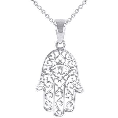 Solid 14K White Gold Filigree Hamsa Hand of Fatima with Evil Eye Pendant Necklace