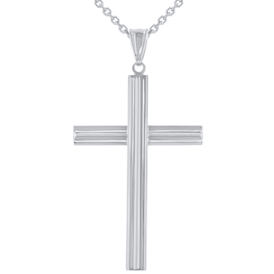 14K White Gold Plain Religious Cross Pendant Necklace