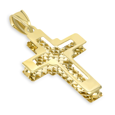 14k Yellow Gold Plain and Textured Double Layer Quadrate Cross Pendant