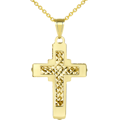 14k Yellow Gold Plain and Textured Double Layer Quadrate Cross Pendant Necklace