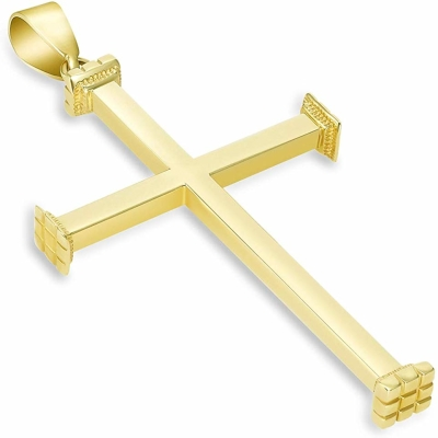 "14k Yellow Gold High Polished Religious Plain Cross Pendant (2.08"")"
