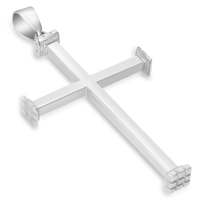 "14k White Gold High Polished Religious Plain Cross Pendant (2.08"")"