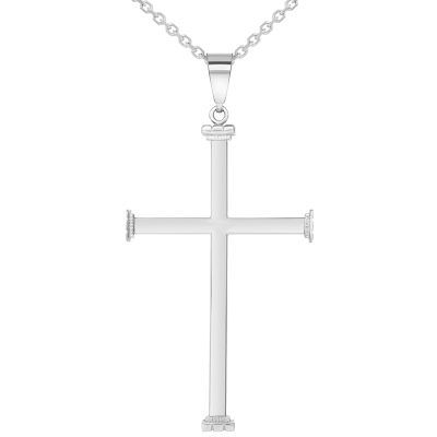 "14k White Gold High Polished Religious Plain Cross Pendant Necklace (2.08"")"