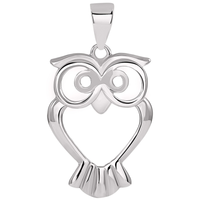 Solid 14k White Gold Open Big Eyes Owl Animal Pendant