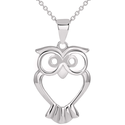 Solid 14k White Gold Open Big Eyes Owl Animal Pendant Necklace