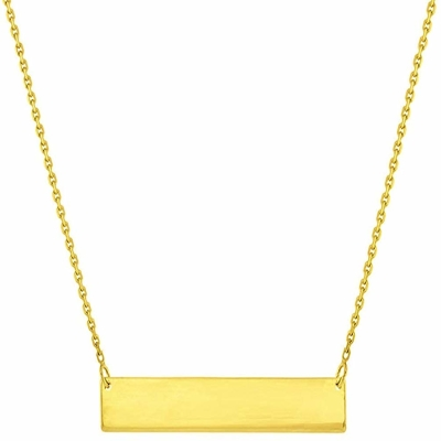 Solid 14k Yellow Gold Engravable Personalized Bar Necklace with Spring Ring Clasp